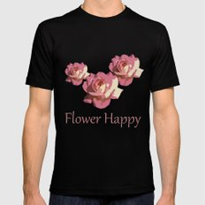 Pretty pink rose garden flower. Floral nature photography.   Mens Fitted Tee Black MEDIUM