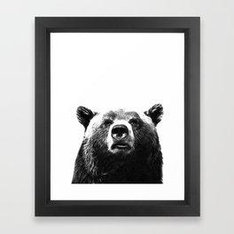 Black and white bear portrait Framed Art Print