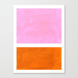 Pastel Neon Pink Yellow Ochre Mid Century Modern Abstract Minimalist Rothko Color Field Squares Canvas Print