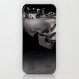 Urban Skull Horror Black and White City iPhone Case