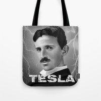 tesla Tote Bags featuring Nikola Tesla by San Fernandez