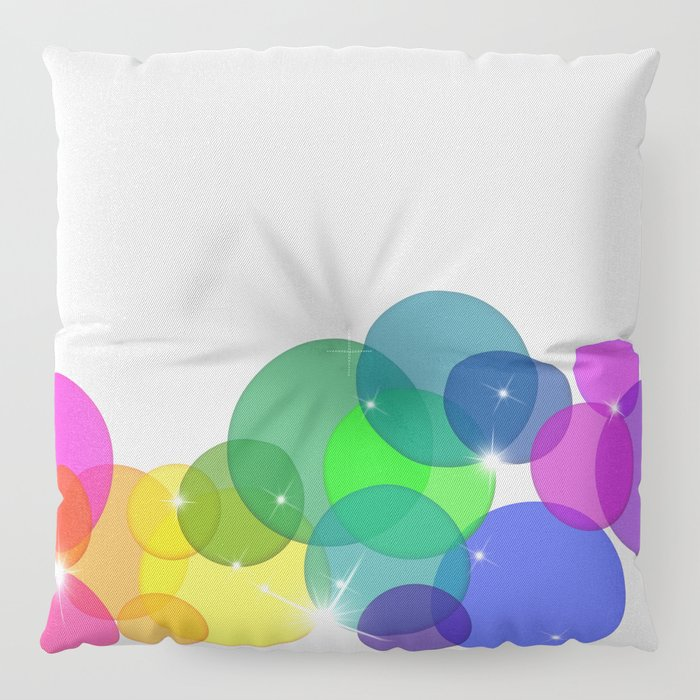 Translucent Rainbow Colored Circles with Sparkles - Multi Colored Floor Pillow