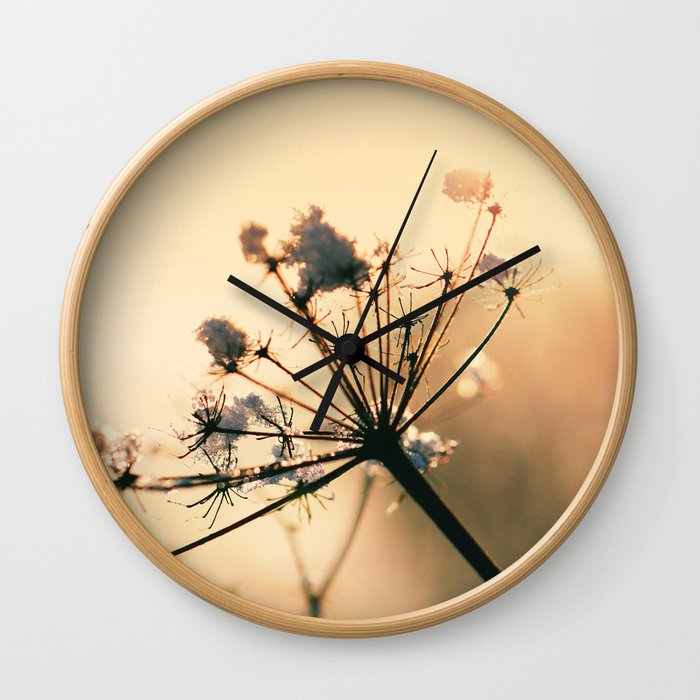 Golden Hour Frost Wall Clock