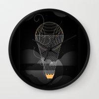 ballon Wall Clocks featuring Crown & the Ballon by Adrielo