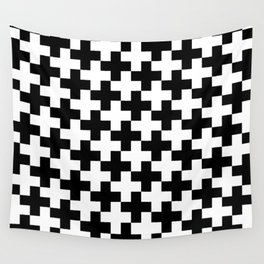 Black and White Crosses/Plus Signs Wall Tapestry
