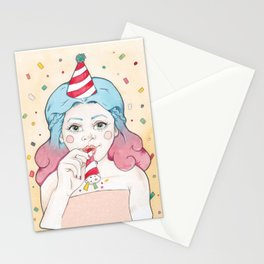 Blue and Purple Haired Party Girl Iris with a Popper, Party Hat & Confetti Stationery Cards