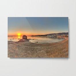Sunrise at Neiborio beach near Chora in Andros island, Greece Metal Print