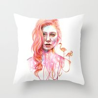 flamingo Throw Pillows featuring Flamingo by Veronika Weroni Vajdová