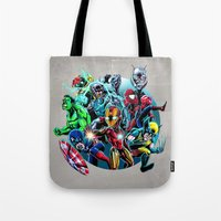 super heroes Tote Bags featuring Super Heroes by Carrillo Art Studio