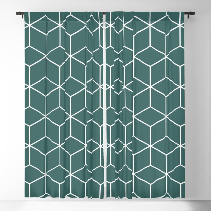 Cube Geometric 03 Teal Blackout Curtain