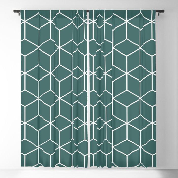 Cube Geometric 03 Teal Blackout Curtain