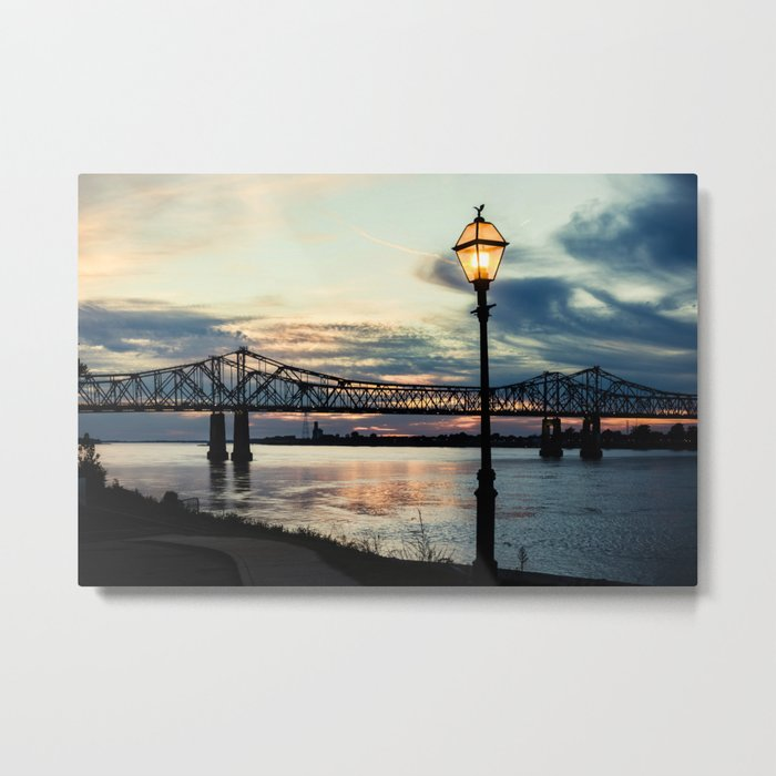 Mississippi River Bridge Natchez Metal Print