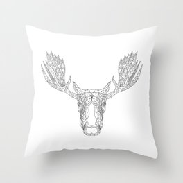 Bull Moose Head Doodle Throw Pillow