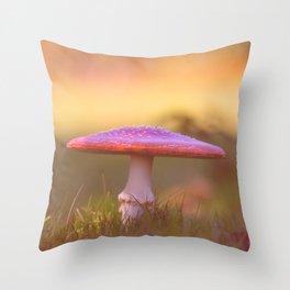 Fly agaric mushroom Throw Pillow