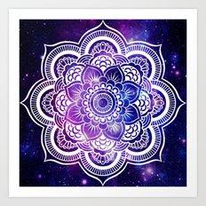 Mandala purple blue galaxy space Art Print