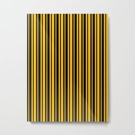 Amber Orange and Black Vertical Var Size Stripes Metal Print
