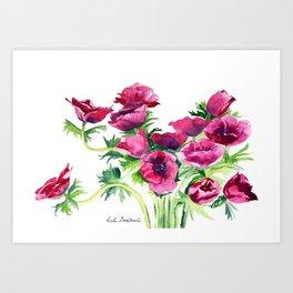 bouquet of poppies Art Print