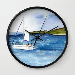 Sailing at full moon Wall Clock