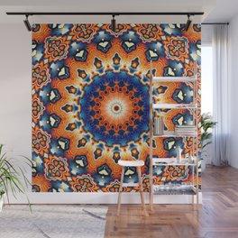 Geometric Orange And Blue Symmetry Wall Mural