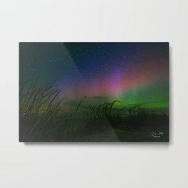 Northern Lights over Silver Lake Sand Dunes, Michigan Metal Print