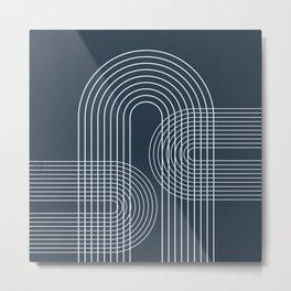 Geometric Lines in Midnight Blue 2 Metal Print