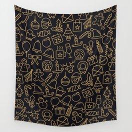 Lovely Golden Christmas Stuffs Pattern Wall Tapestry