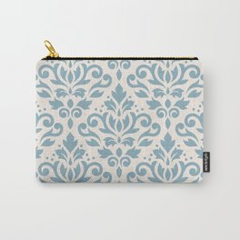Scroll Damask Large Pattern Blue on Cream Carry-All Pouch