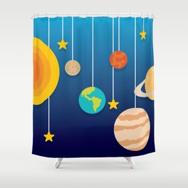 Science Class Diorama of the Solar System Shower Curtain