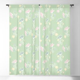 1950s Style Flower Polka Dots Seamless Pattern Blackout Curtain