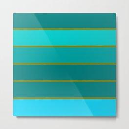 Teal Stripes Metal Print