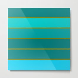 Teal Stripes Metal Print