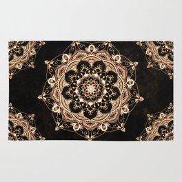 Glowing Spirit Black White Mandala Design Rug