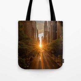 ManhattanHenge - sun setting along 42nd Street Tote Bag