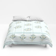 Blue anchor and flowers Comforters