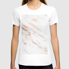 Rose Quartz Foil on Real White Marble T-shirt