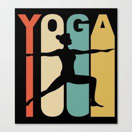 Vintage Style Warrior Two Yoga Pose Silhouette Retro Canvas Print