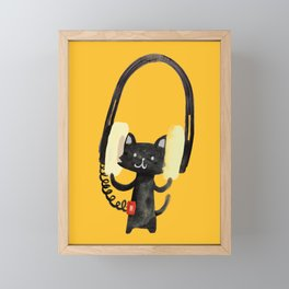 I Love Huge Headphone Framed Mini Art Print