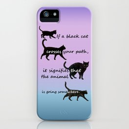 Black cat crossing iPhone Case