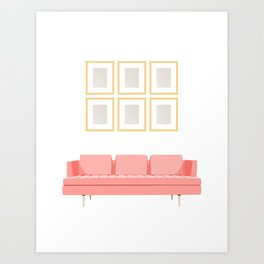 Modern Sofa with Picture Frames (Living Coral) Art Print