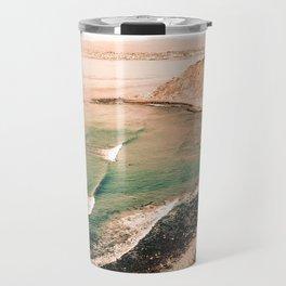 California Pacific Coast Highway // Vintage Waves Crashing on the Beach Teal Ocean Water Travel Mug