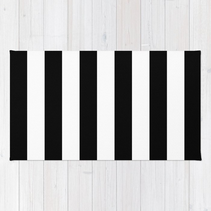 Stripe Black & White Horizontal Rug