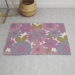 Pink & Purple Retro Floral Pattern Rug