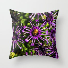 Bee and the Purple Flower Throw Pillow