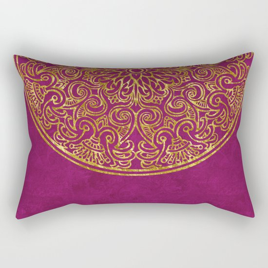 Red gold Luxury round Ornament Rectangular Pillow