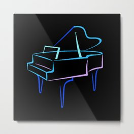 Blue Abstract Grand Piano Metal Print