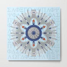 Ancient Greece Themed Mandala Metal Print