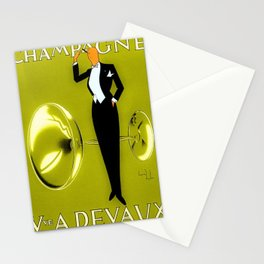 Vintage Champagne Yellow Veuve A. Devaux, Paris, Jazz Age Roaring Twenties Advertisement Poster Stationery Cards