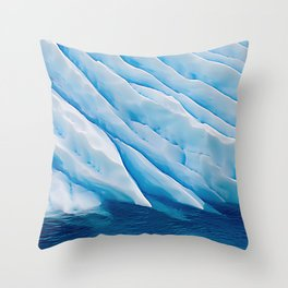 Blue Ice Iceberg Slipping Into Ocean Waters Throw Pillow