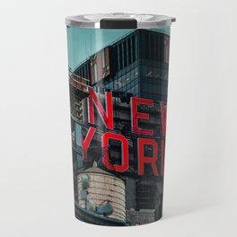 New York red neon Travel Mug