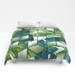 Tropical Cubic Effect Banana Leaves Design Comforters